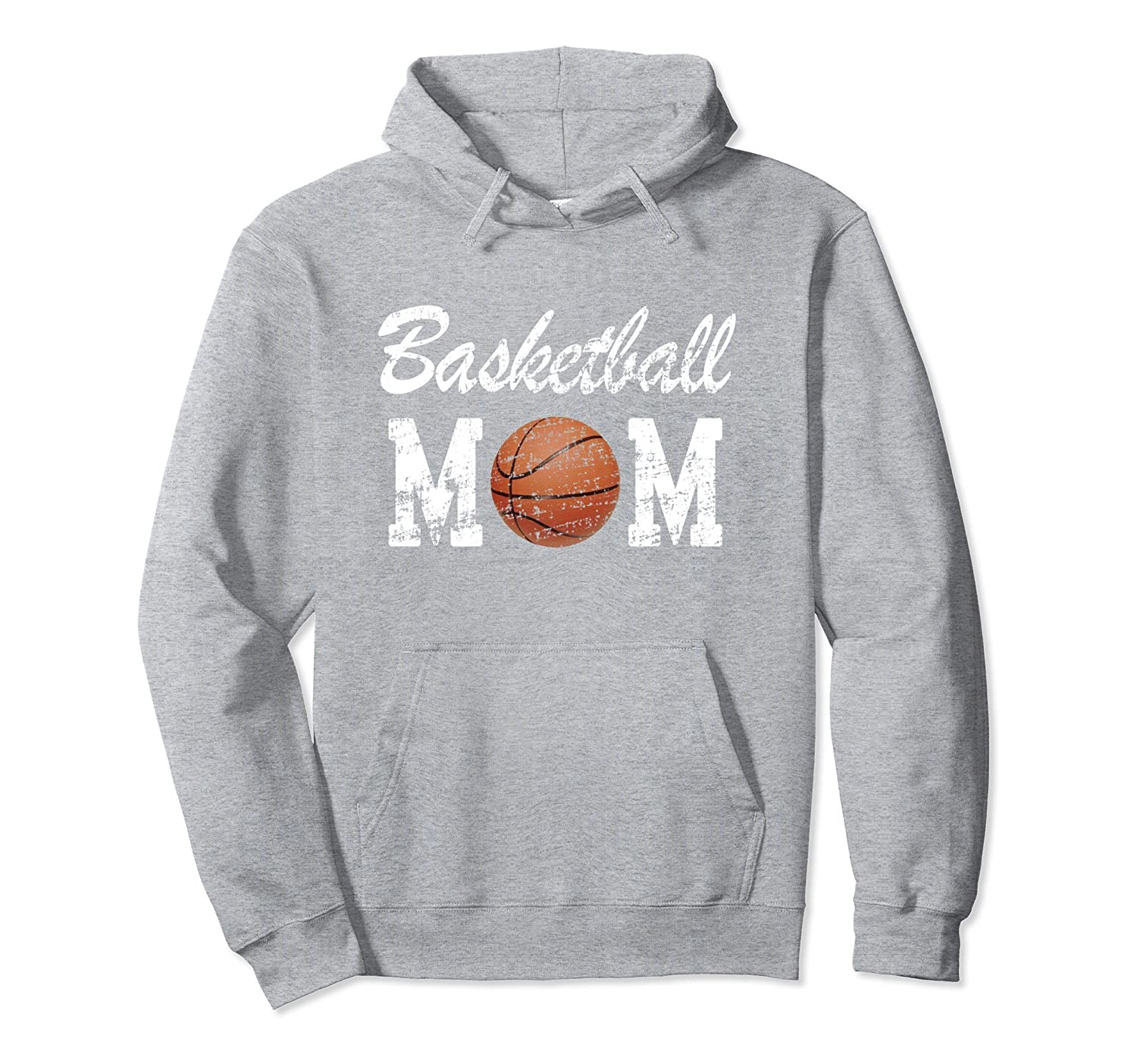 Basketball Mom Cute Novelty Distressed Pullover Hoodie-fa