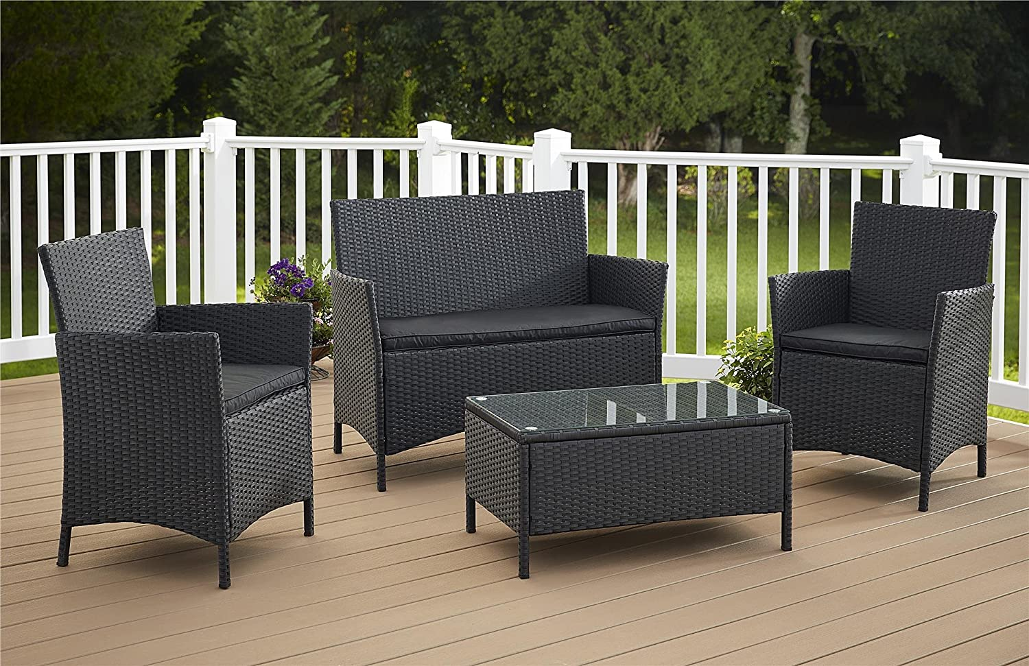 Amazon.com Cosco Outdoor Conversation Set 4 Piece Black Wicker Garden u0026 Outdoor & Amazon.com: Cosco Outdoor Conversation Set 4 Piece Black Wicker ...