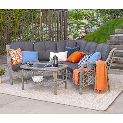 Amazon Com Overstock 3 Piece Outdoor Sectional And Coffee Table