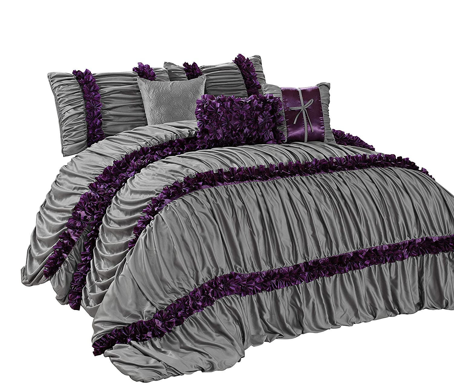 HIG 7 Piece Comforter Set King-Gray Damask Satin Several Ruffles-CARALINA Bed in A Bag King Size-Soft, Hypoallergenic,Fade Resistant-1 Comforter,2 Shams,3 Decorative Pillows,1 Bedskirt