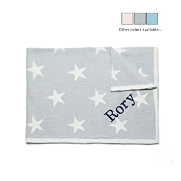 Star Personalised Baby Boy Blanket Embroidered New Born Blue Gift