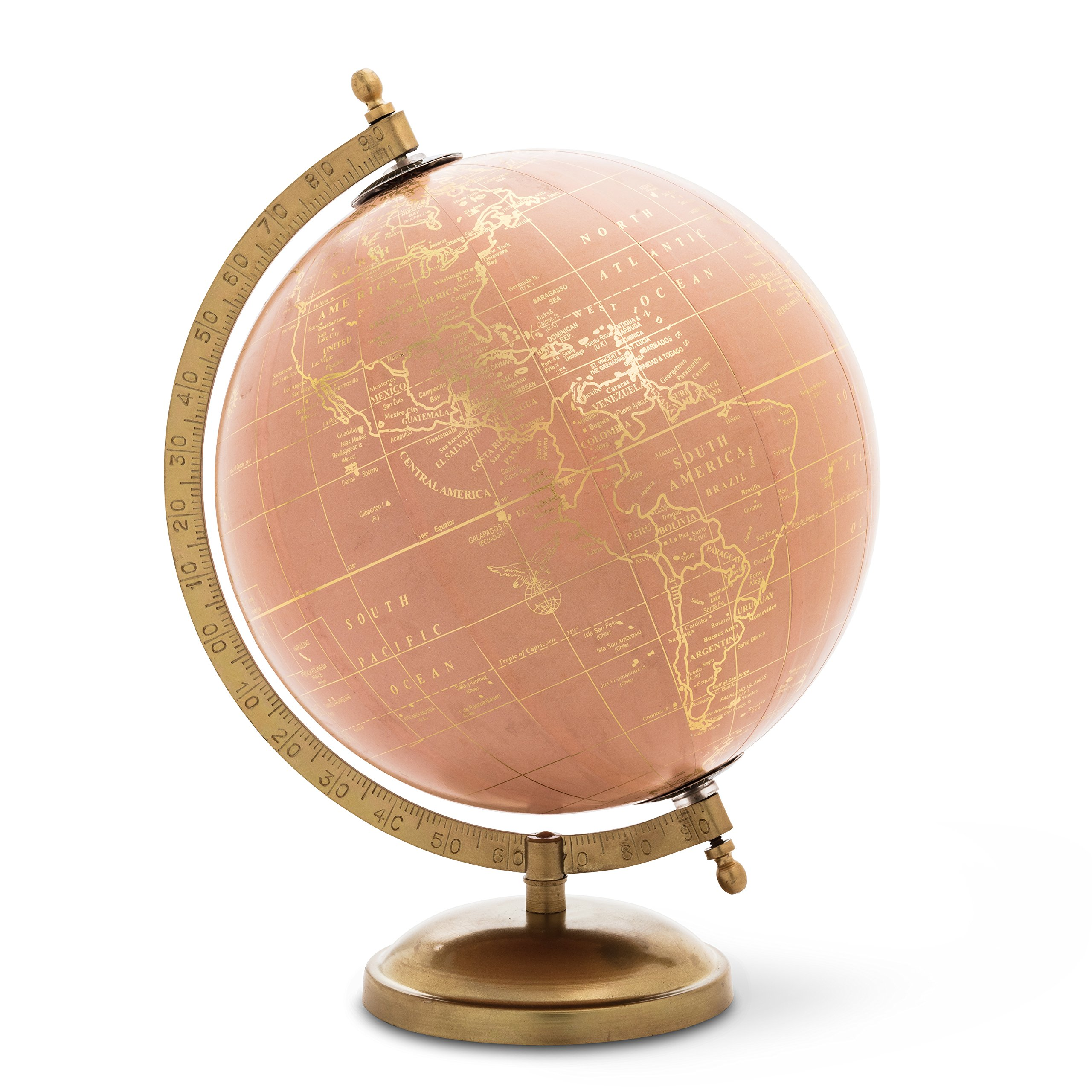 Abbott Collection 57-Latitude-01 Globe on Stand, Pink/Gold