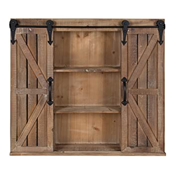 Kate And Laurel Cates Rustic Wood Wall Storage Cabinet With Sliding Barn  Doors, Brown