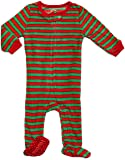 Footed Fleece Sleeper Red & Green Stripes 12-18 M