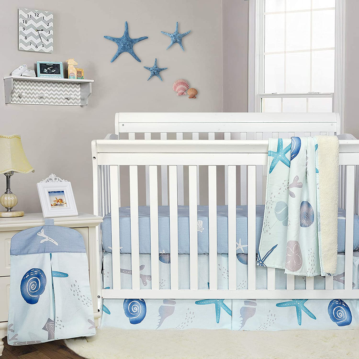 Brandream Baby Boys Crib Bedding Sets Nautical Nursery Bedding for Boys and Girls Ocean Animal Print Starfish Crib Bedding with Diaper Stacker 4 Piece Beach Theme,100% Cotton Hot Baby Shower Gift
