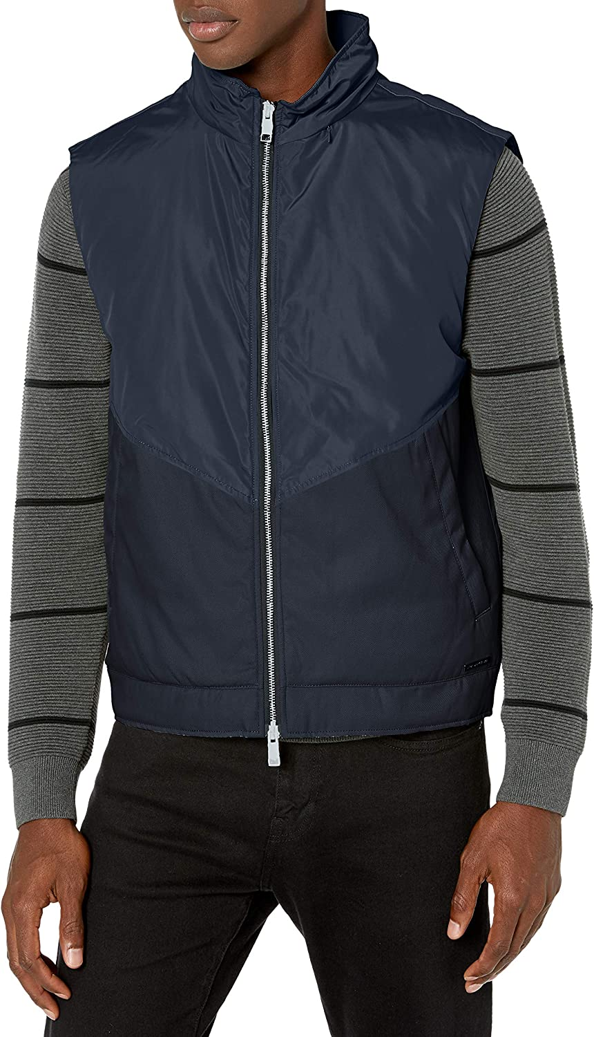 A|X Armani Exchange Men's Paneled Zip Up Polyester Vest