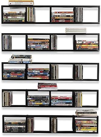 Bhg Support Mural 86 4 Cm Media Support De Rangement Organiseur De Cd Dvd En Metal Etagere Flottante Noir Lot De 5 Amazon Ca Maison Et Cuisine