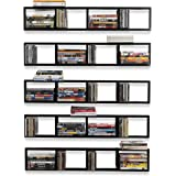 Wall Mount 34 Inch Media Storage Rack CD DVD Organizer Metal Floating Shelf  Set Of 5