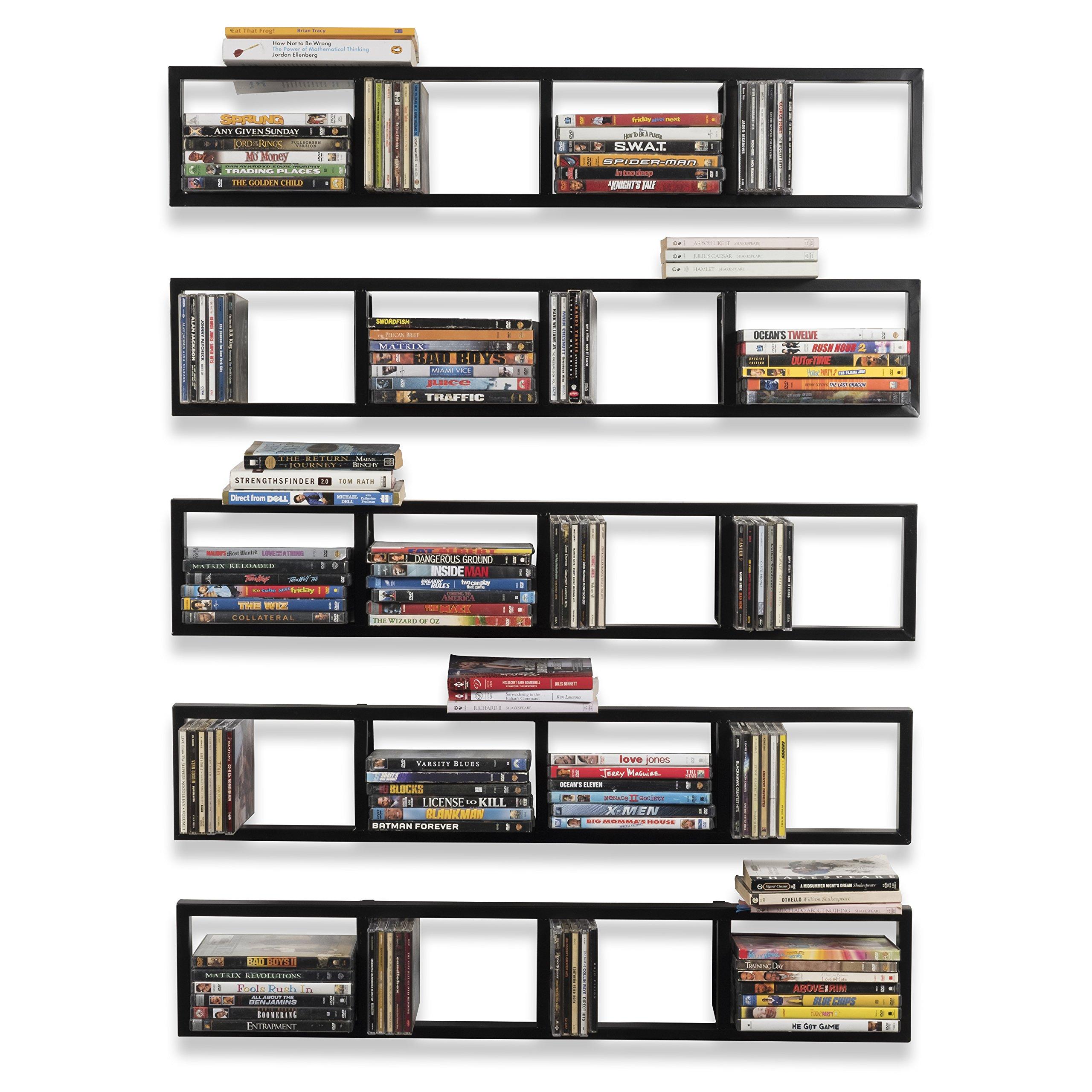 Wall Mount 34 Inch Media Storage Rack CD DVD Organizer Metal Floating Shelf Set of 5 Black by BHG