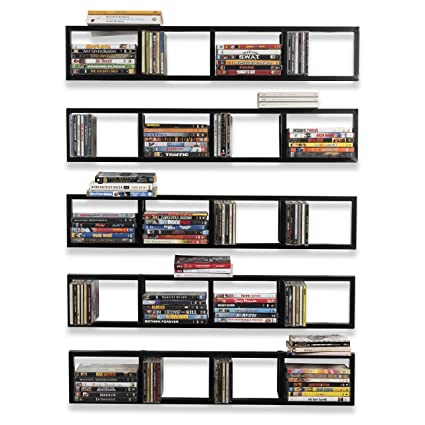 Wall Mount 34 Inch Media Storage Rack CD DVD Organizer Metal Floating Shelf Set of 5  sc 1 st  Amazon.com & Amazon.com: Wall Mount 34 Inch Media Storage Rack CD DVD Organizer ...