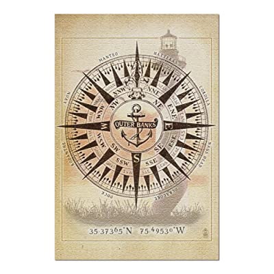 Outer Banks, North Carolina - Compass (Premium 1000 Piece Jigsaw Puzzle for Adults, 20x30, Made in USA!): Toys & Games
