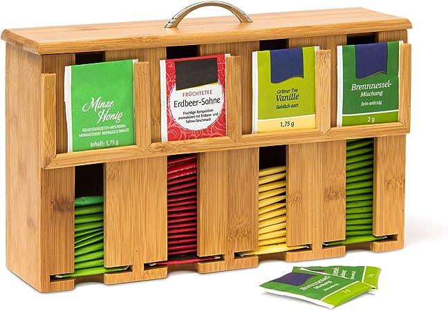 Relaxdays Caja para Bolsitas de Té, Bambú, Marrón, 22 x 33 x 10 cm: Amazon.es: Hogar