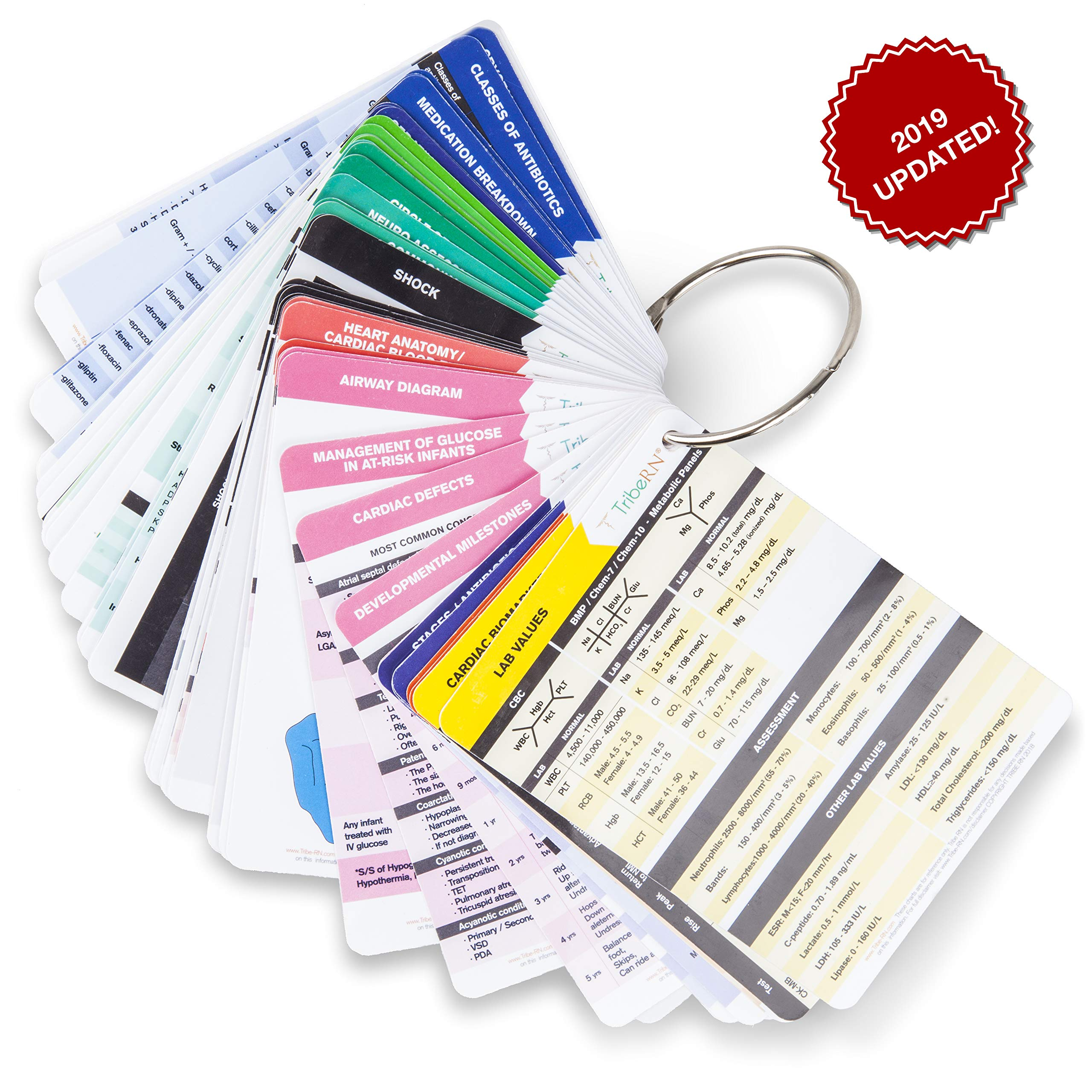 2019 PocketGuru Set by Tribe RN - 85 Scrub Pocket Sized Nurse Reference Cards - (Bonus Nursing Cheat Sheets) Perfect Nurse or Nursing Student Gifts - Studying and Clinical Rounds