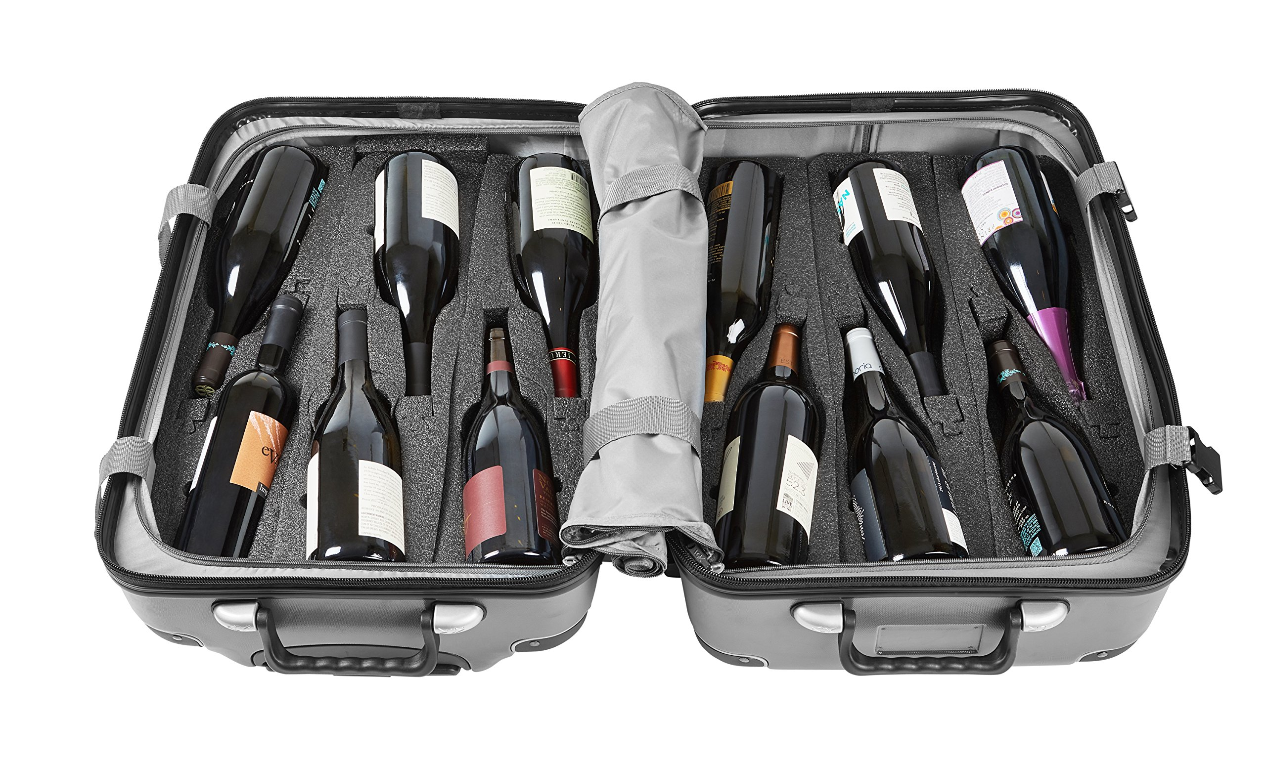 Wine Travel Suitcase & All-purpose Luggage (Standard Size) VGV Grande | Up to 12 Bottles (Silver)