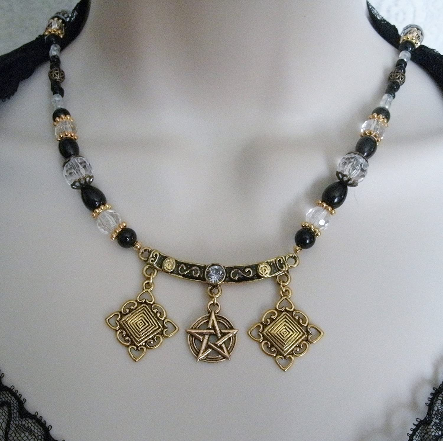 wiccan witch handfasting handmade jewelry Triple Moon Necklace magic goddess pagan witchcraft wicca