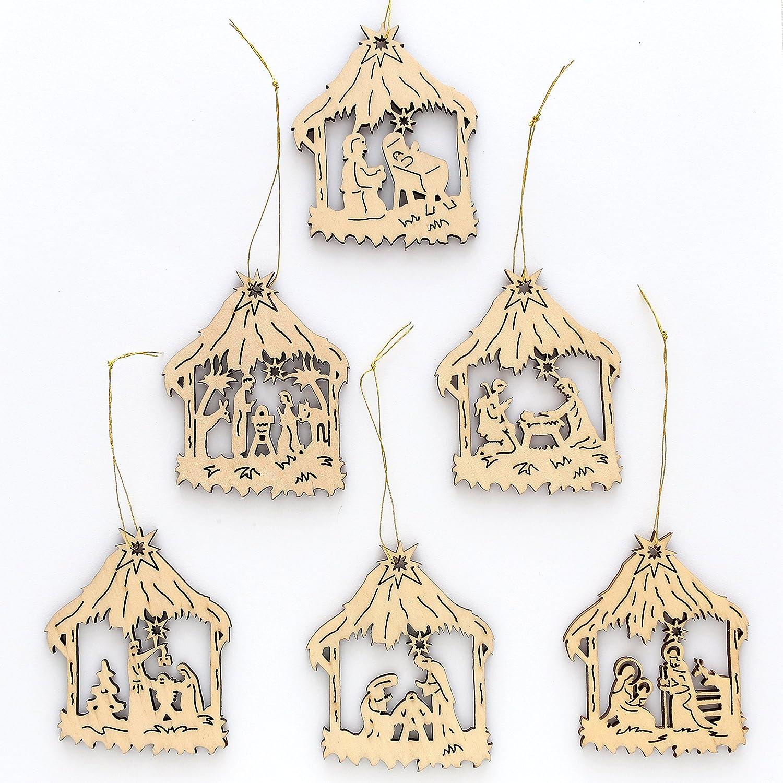 Beautiful set of 6 wooden Christmas Tree ornaments, size approx. 6 cm Dekohelden24
