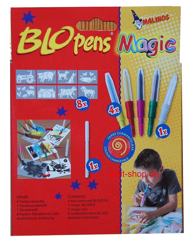 MALINOS Blopens Magic Pustestifte 6 Stifte 8 Schablonen Plus ...