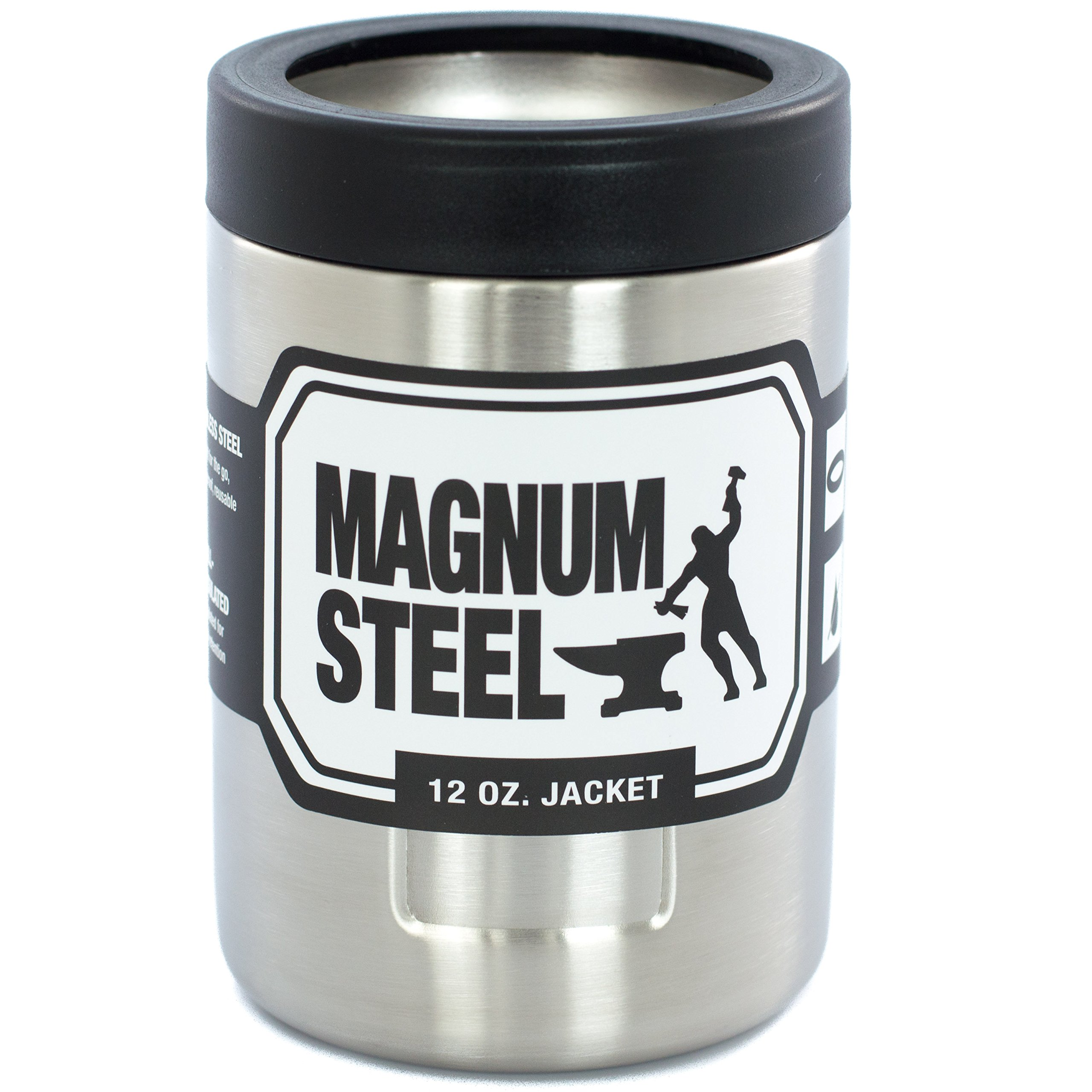 Stainless Steel Can Cooler ~ Magnum steel oz stainless can cooler black
