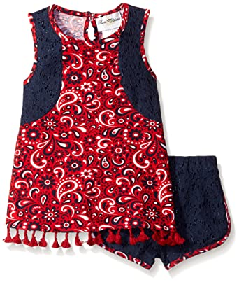 a58879f23581 Amazon.com  Rare Editions Girls  Paisley Print Short Set Dress  Clothing