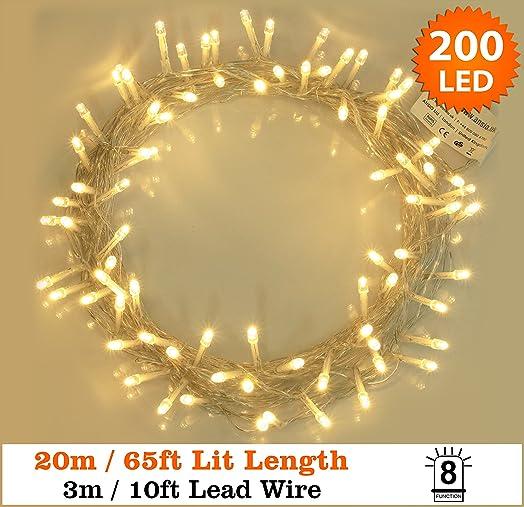 fairy lights 200 led warm white christmas tree lights string lights 8 functions 20m - Christmas Lights String