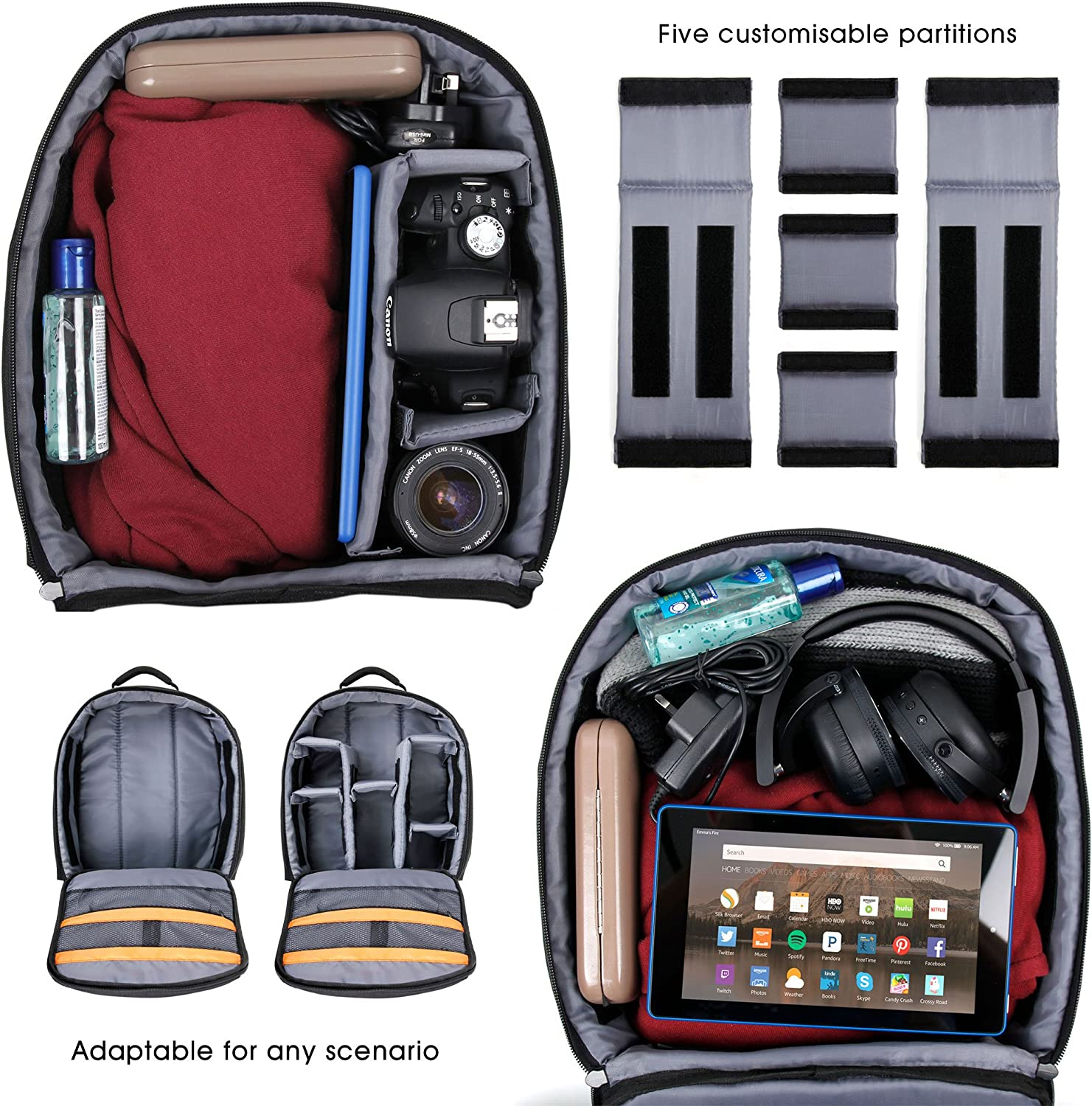DURAGADGET Black Backpack w//Customisable Interior /& Raincover XS9 XS80 /& XS100 Extreme Edition XS20 XS7 Compatible with Toshiba Camileo X-Sports//Veho MUVI//Polaroid Cube C3//HD