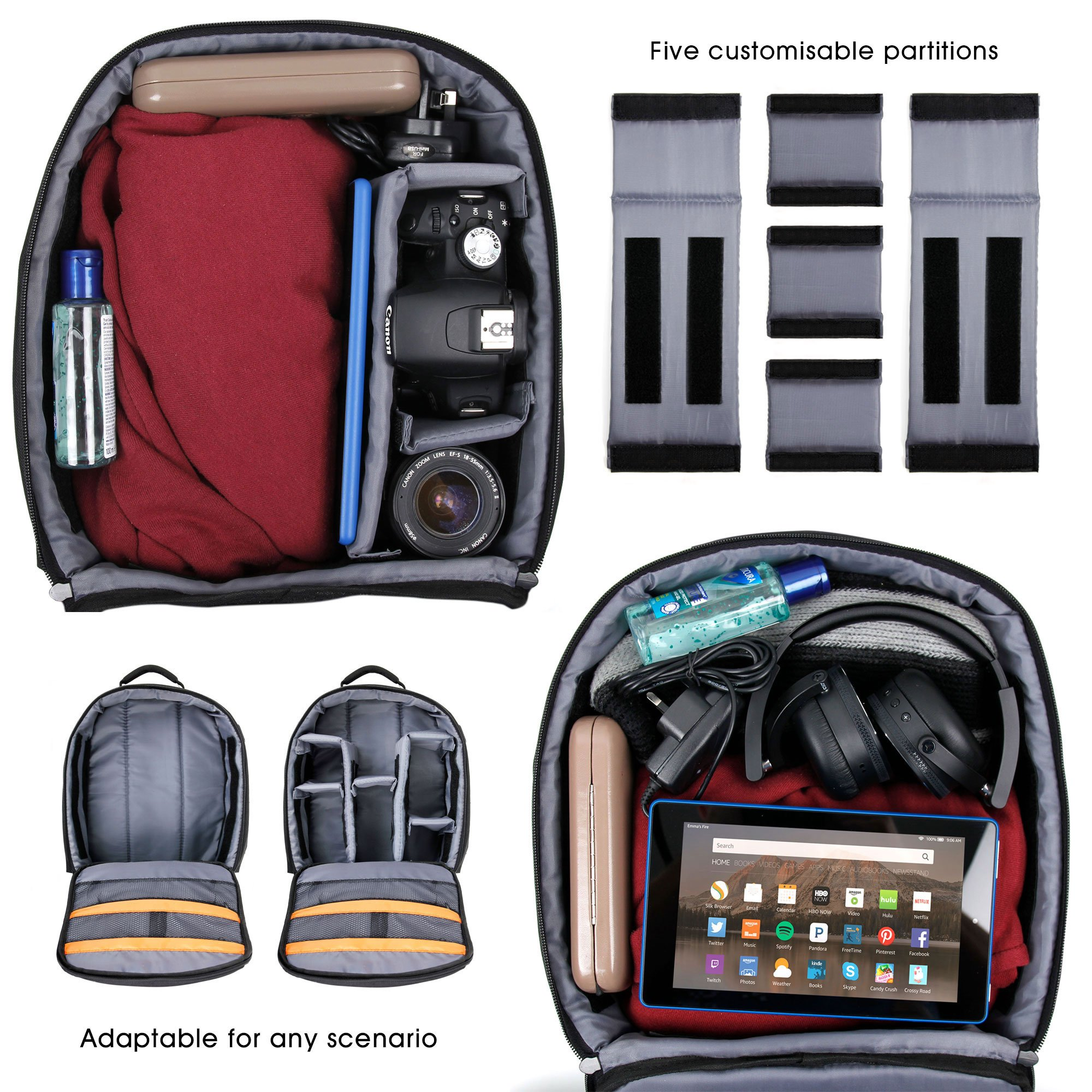DURAGADGET Premium Quality, Water-Resistant Compact Backpack Organiser - Compatible with Sphero Ollie/Sphero Ball Robot - with Customisable Interior & Additional Raincover by DURAGADGET (Image #7)