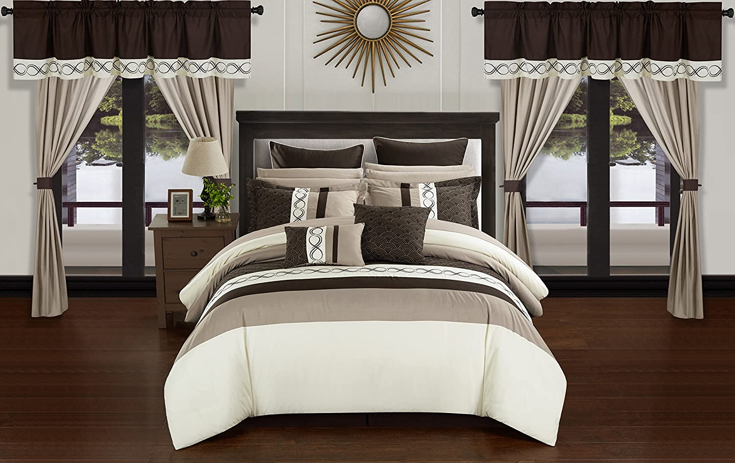 Chic Home Idit 24 Piece Comforter Set Color Block Embroidered Design Complete Bag Bedding, King, Beige