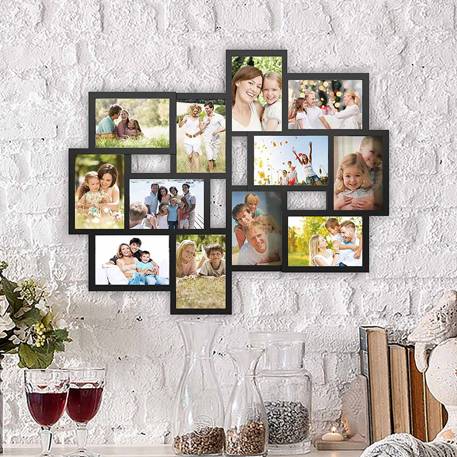 Lavish Home 80-COLL-1 Collage Picture 12 Openings for 4x6 Wall Hanging Multiple Photo Frame Display for Personalized Decor, Black