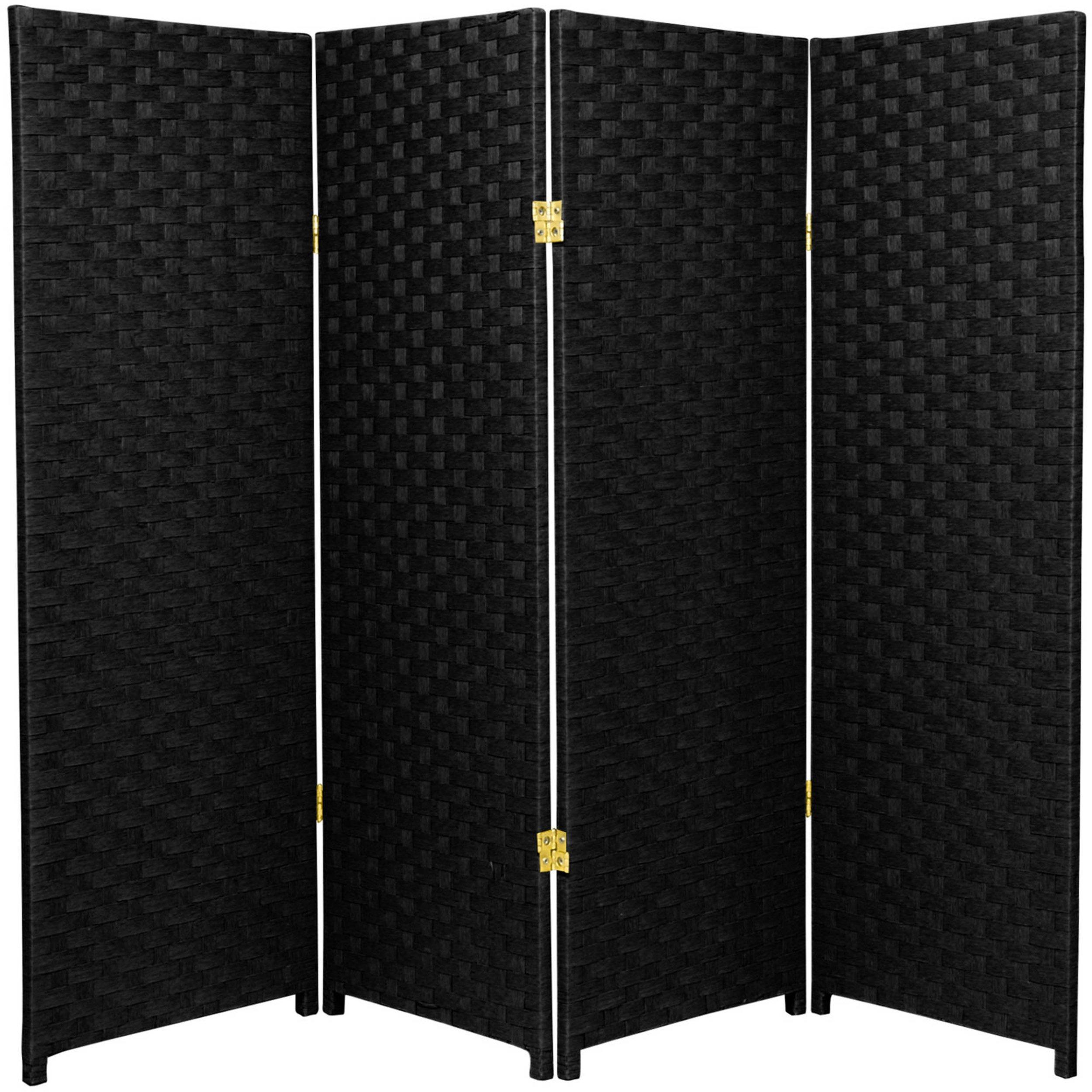Natural Plant Fiber Woven Room Decor Black 4 Panels Divider by Oriental Furniture Panels Divider