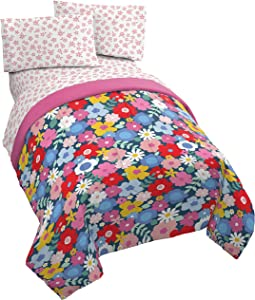Jay Franco Bloom 4 Piece Twin Bed Set - Includes Comforter & Sheet Set - Bedding Features Flowers - Super Soft Fade Resistant Microfiber
