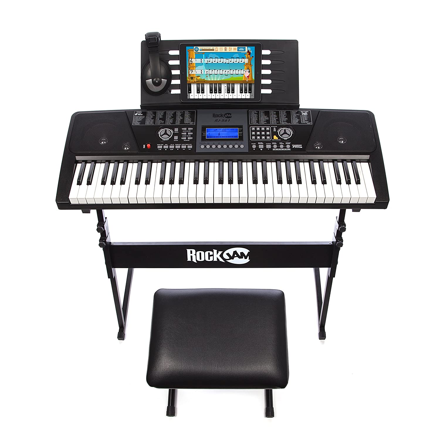 RockJam Full-Size 61-Key Electronic Keyboard SuperKit