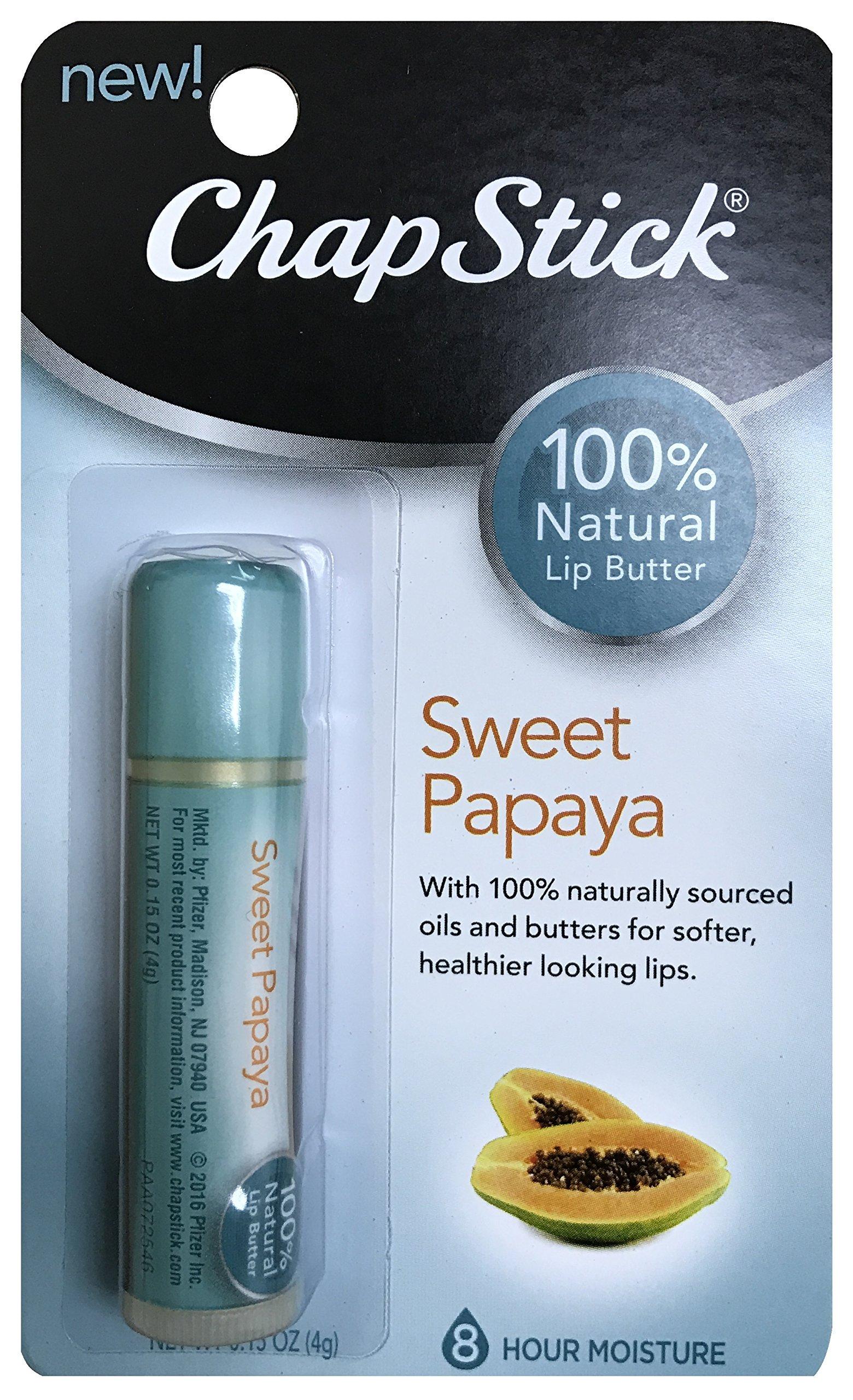 ChapStick 100% Natural Lip Butter Sweet Papaya 0.15 oz (Pack of 12)