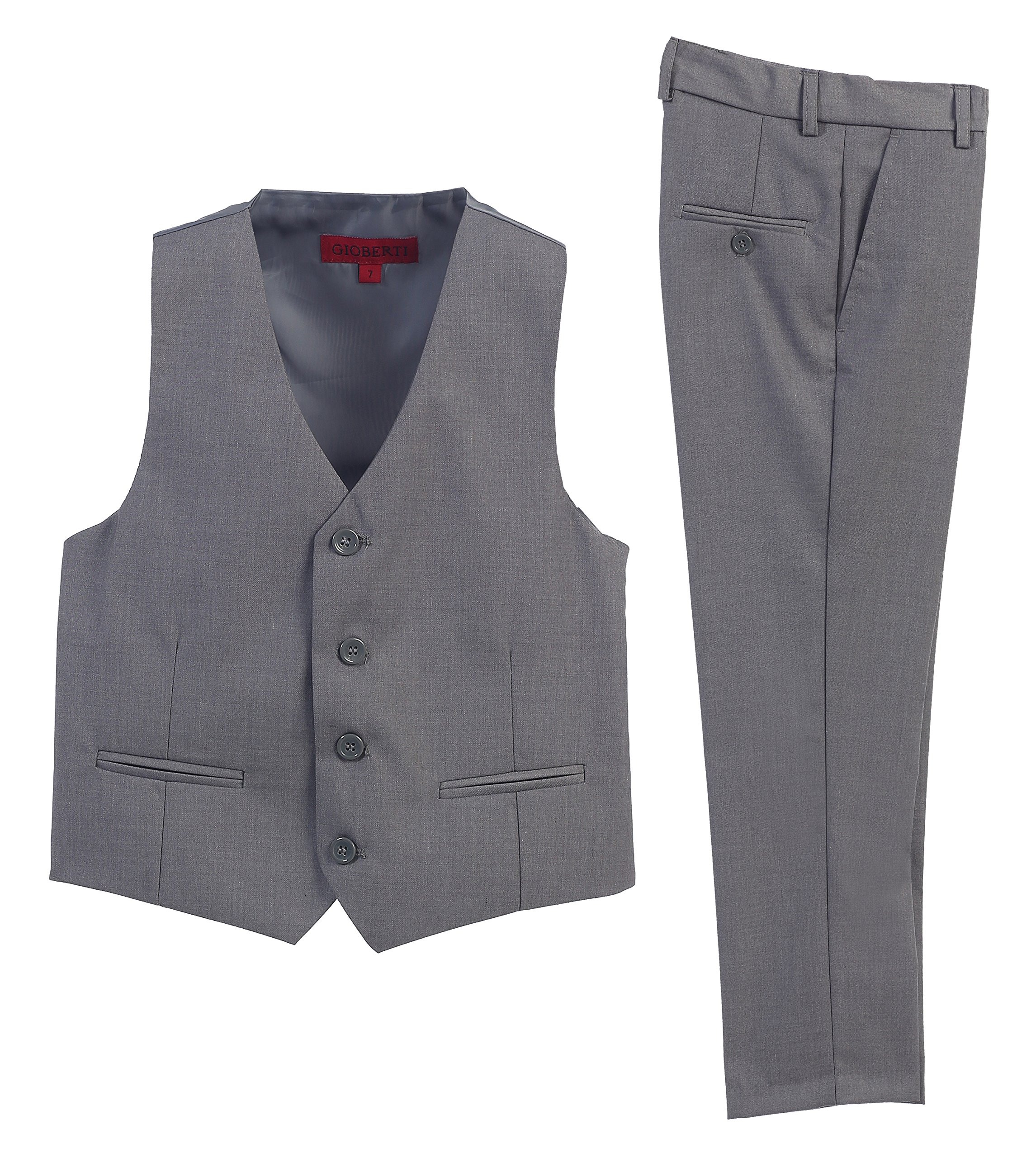 2 Piece Kids Boys Gray Vest and Pants Formal Set, 5