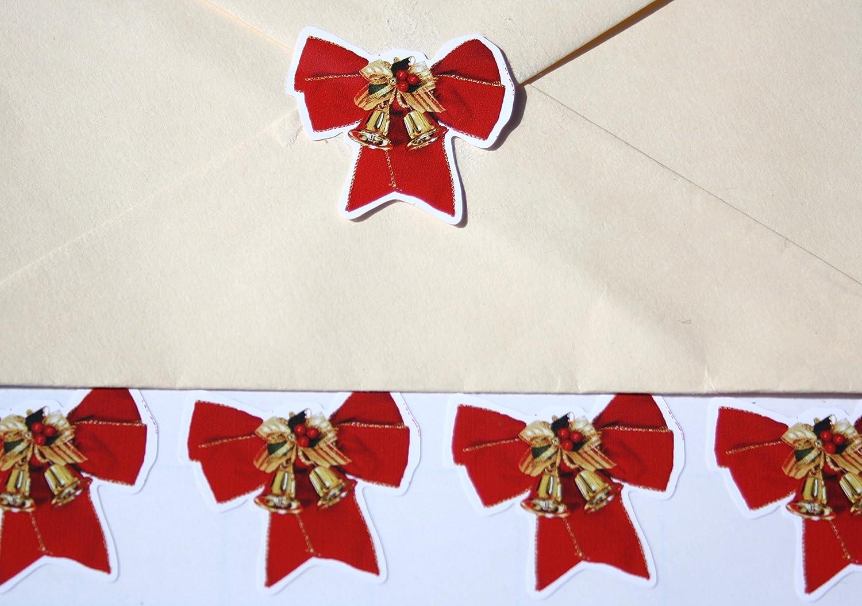 40 Christmas Ribbon Envelope Seal Stickers Advanced Printing