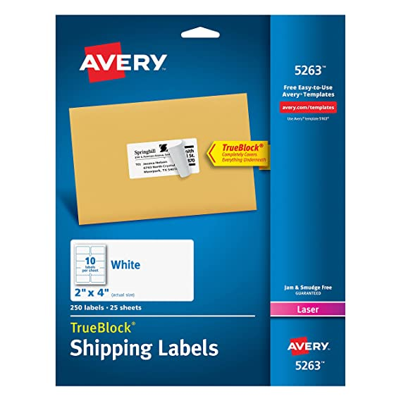 Amazon Avery Shipping Address Labels Laser Printers 250