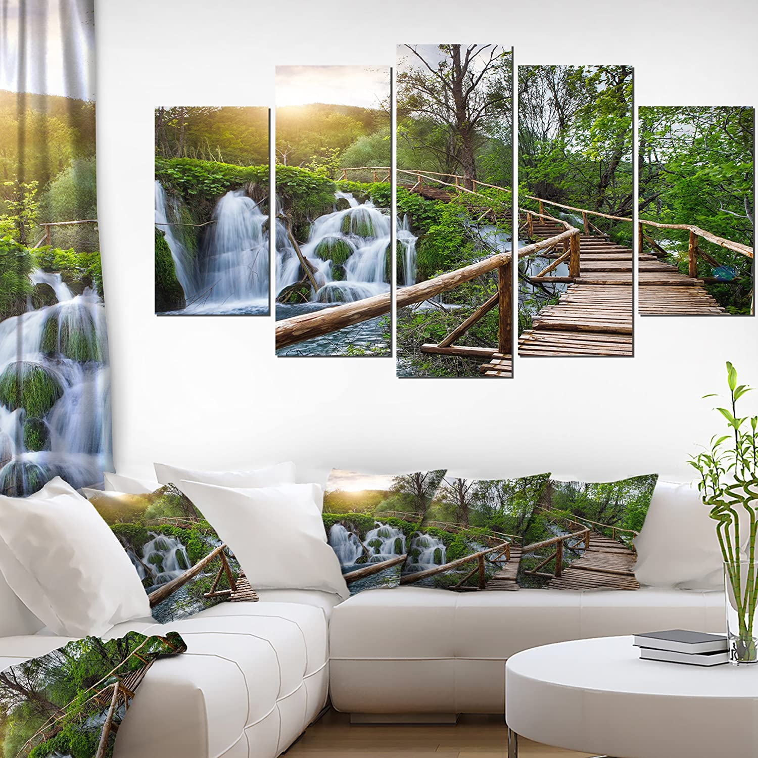 Design Art Pathway In Plitvice Lakes Landscape Photography Canvas Print 60x32 5 Piece 60x32 5 Panels Diamond Shape Green Posters Prints