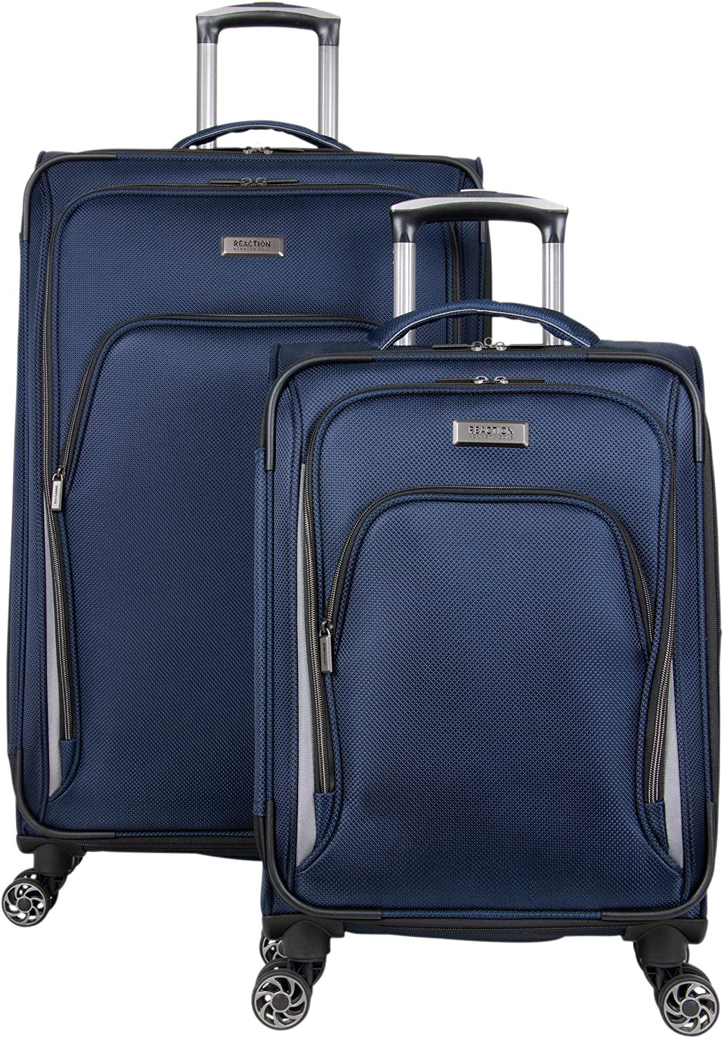 Kenneth Cole Reaction Cloud City 2-Piece 20 Carry-On 28 Check Size Lightweight Softside Expandable 8-Wheel Spinner Travel Luggage Set, Navy