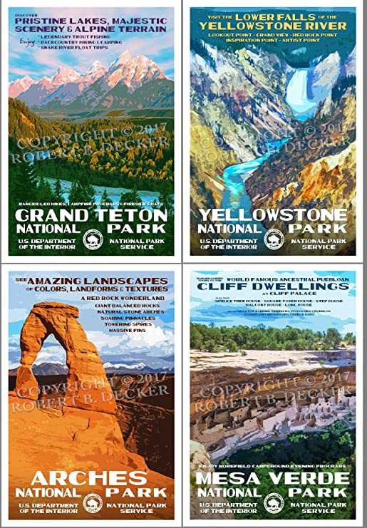 National Park Posters 4 Pack Original Artwork 13 X 19 Amazon Co Uk Welcome