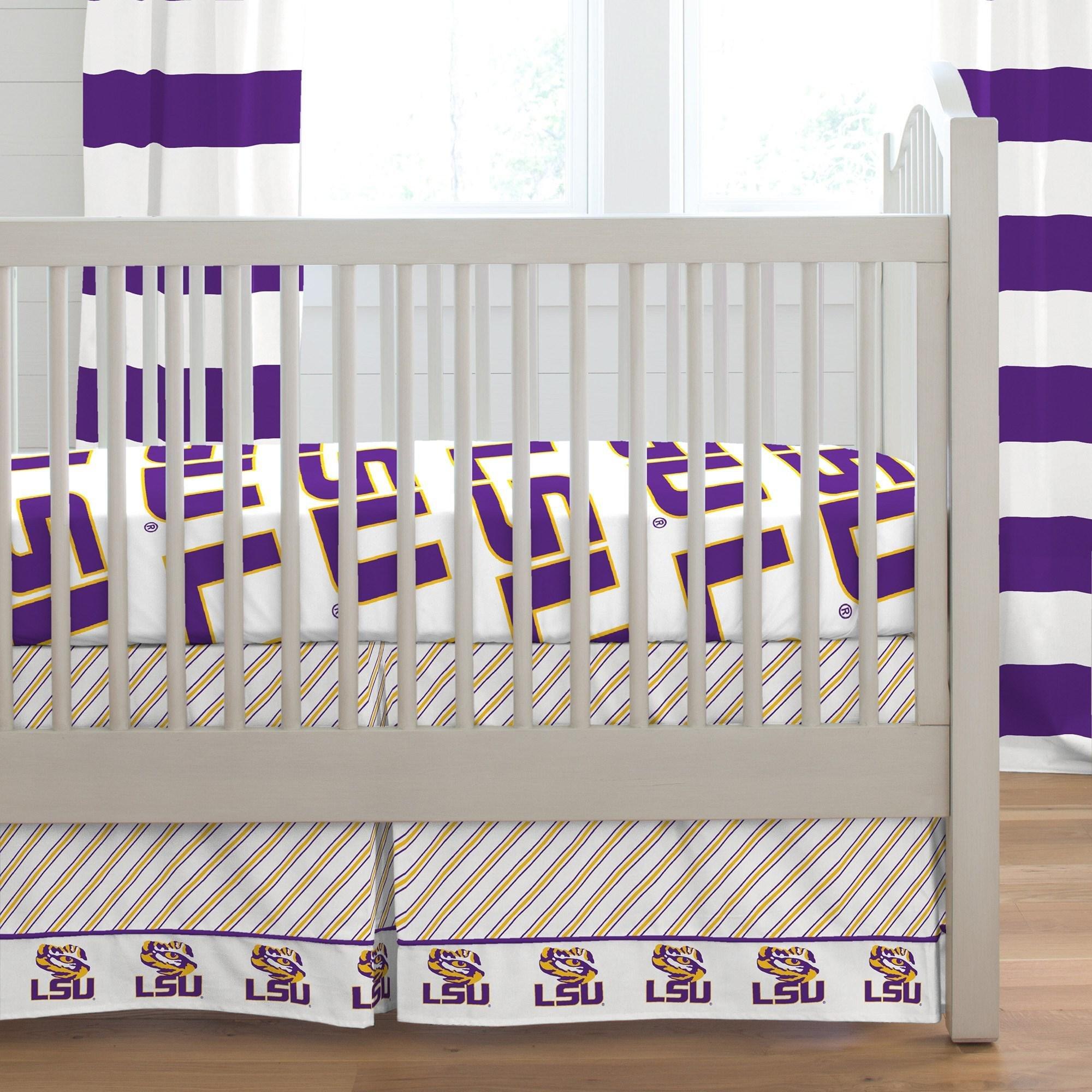 Carousel Designs LSU Crib Skirt Box Pleat 20-Inch Length