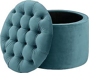 TOV Furniture Queen Velvet Storage Ottoman, Sea Blue