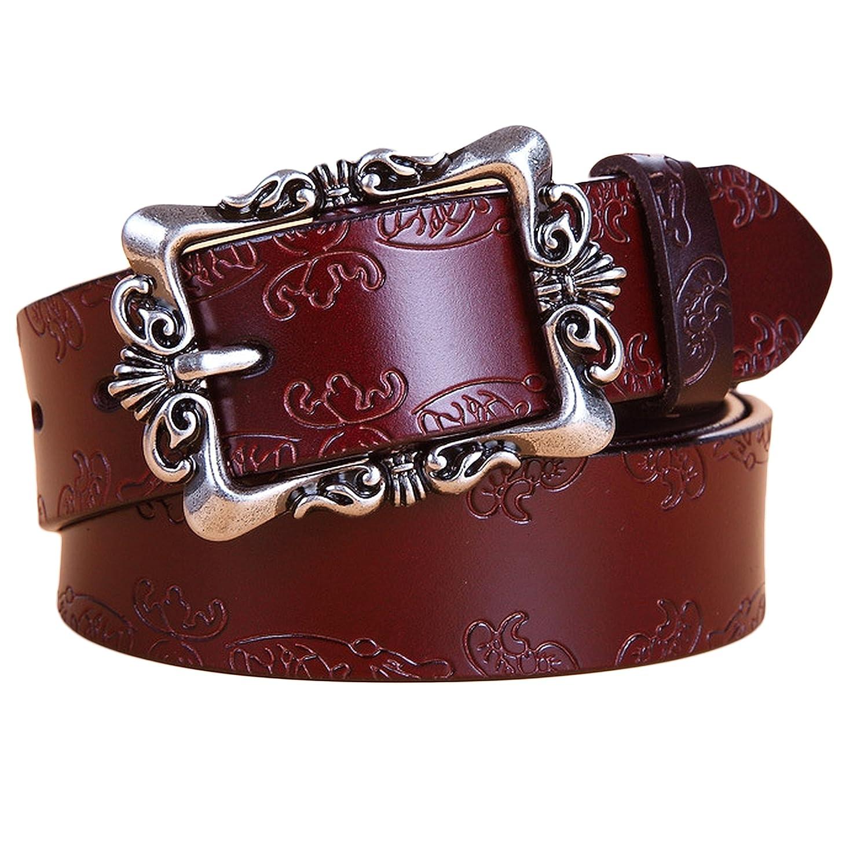 Chocolate Ayli Women's Jean Belt, Vintage Floral Handcrafted Genuine Leather Belt