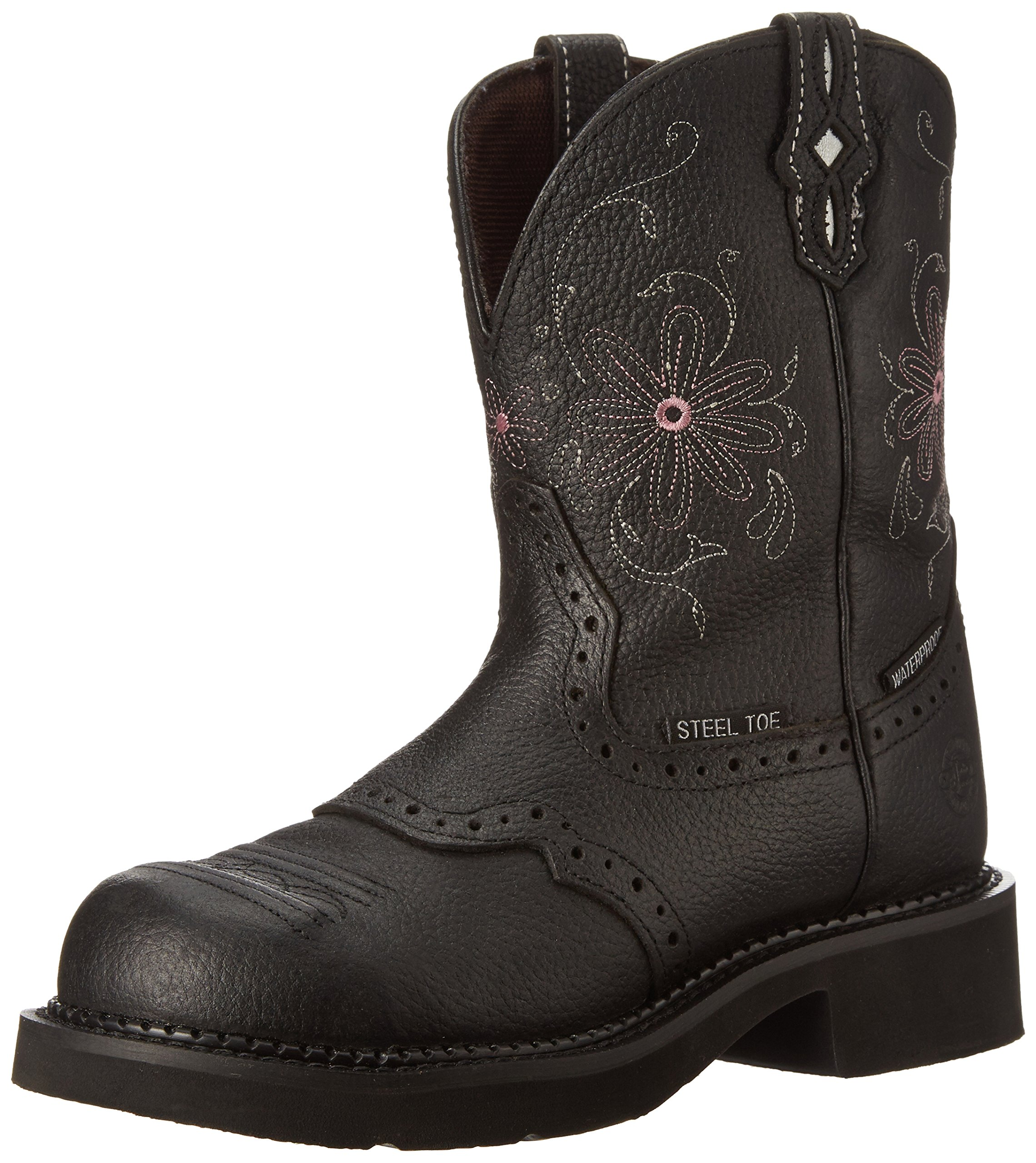 Justin Boots Women's Gypsy Collection 8'' Steel Toe,Black Pebbled Grain,6.5B