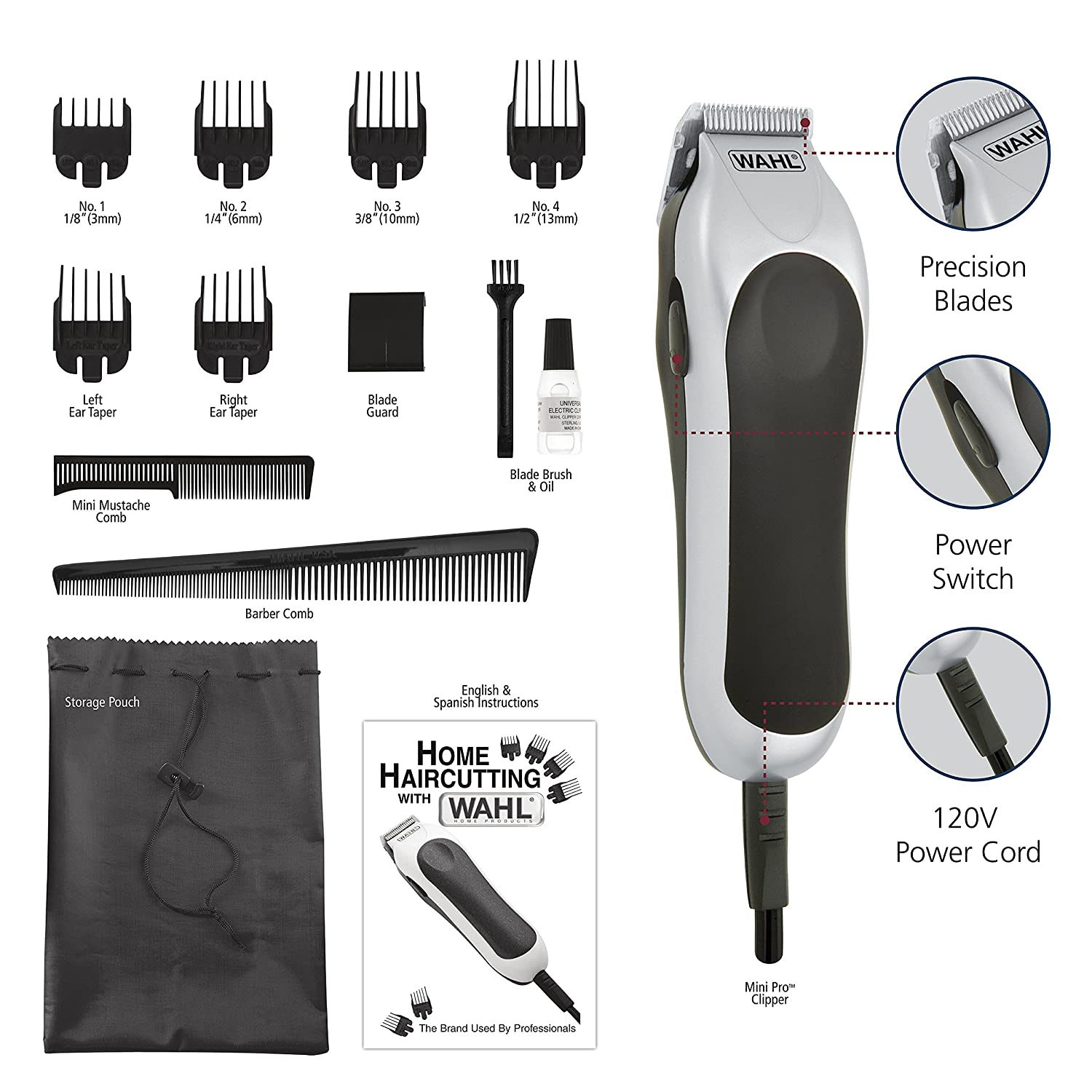 Mini Pro Hair Cutting Kit for Men, Powerful Total Body Clipping Hair Clipper Kit