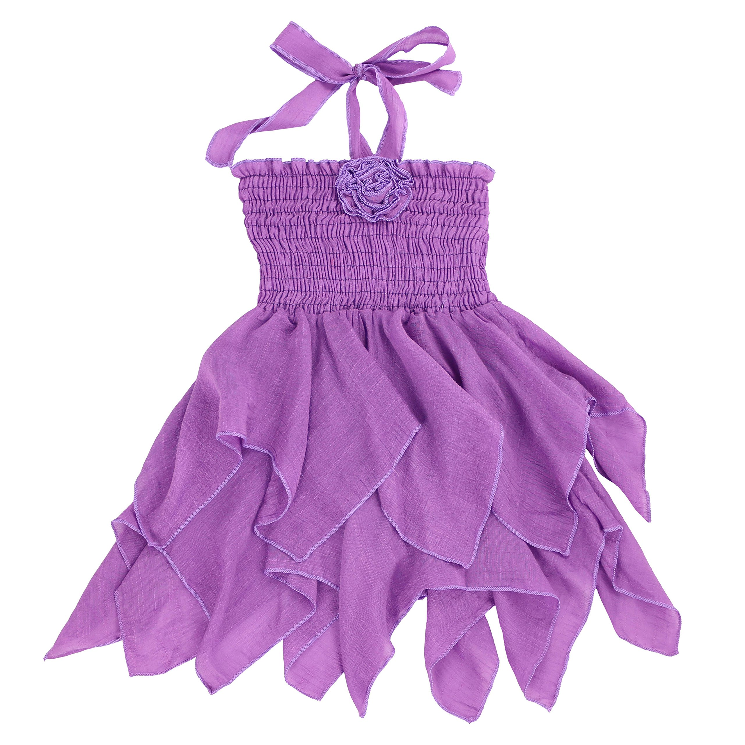 LELEFORKIDS - Toddlers and Girls Light Cotton Halter Mermaid Double Handkerchief Je T'Aime Dress in Lilac Size 6X