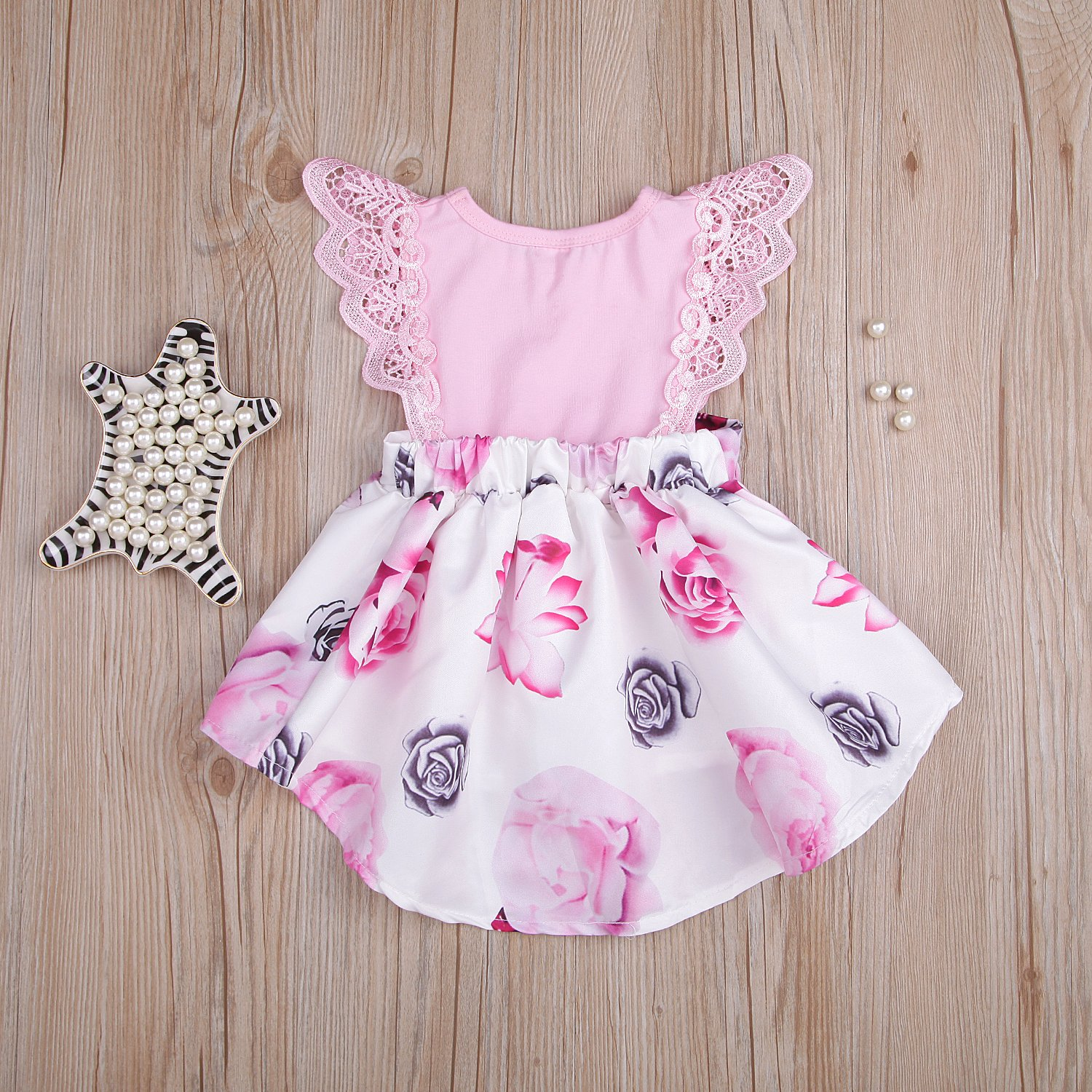 Little Sister Floral Clothing Lace Ruffle Sleeve Dress Outfit Princess Sundress Baby Girl Dress