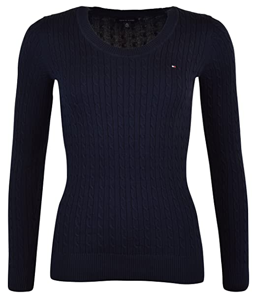 3a01c073 Image Unavailable. Image not available for. Color: Tommy Hilfiger Womens  Scoop Neck Cable Knit ...