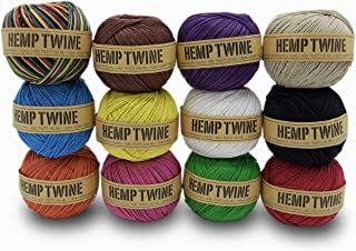 product image for 100% Hemp Twine Ball 1MM, 100G/430 Ft. - 20 lb. Test Strength - 12 Pack Assorted Colors