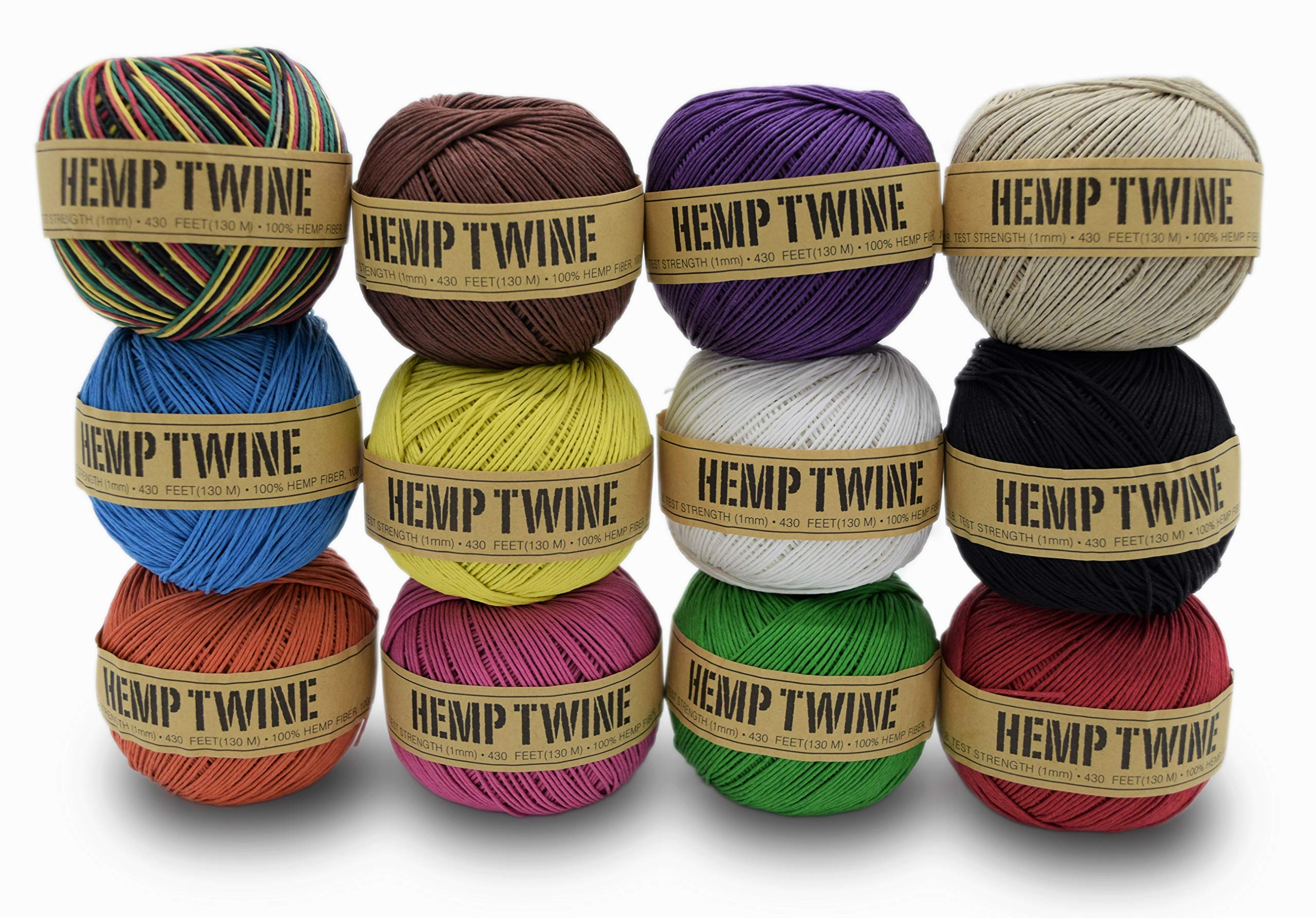 100% Hemp Twine Ball 1MM, 100G/430 Ft. - 20 lb. Test Strength - 12 Pack Assorted Colors by Bean Products