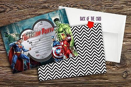 Nuevo niños fiesta de cumpleaños invitaciones Super Hero ...
