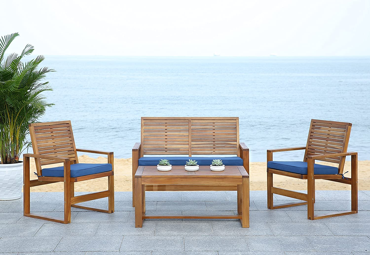 Outstanding Safavieh Home Collection Hailey Outdoor Living 4 Piece Acacia Patio Furniture Set Brown And Navy Gmtry Best Dining Table And Chair Ideas Images Gmtryco